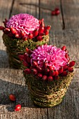 Wicker baskets with rose hips, moss and chrysanthemums as table decoration