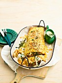 Moroccan lamb strudel with cheese sauce