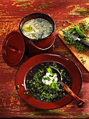 Black lentil soup and cream of kohlrabi soup