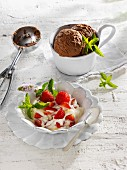 Strawberry quark and chocolate ice cream