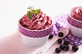 Blueberry soya ice cream