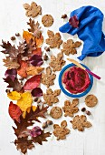 Pumpkin and flax seed cracker with beetroot hummus