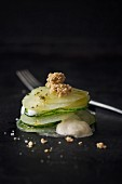 Cucumber and celeriac mill feuille with almond brittle