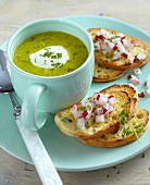 Chervil soup with radish bruschetta