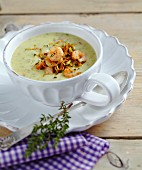 Potato soup with shrimps