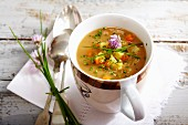 Thick bread soup with chives