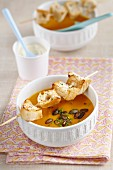 Pumpkin and parsnip soup with bread skewers