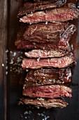 Beef steak with salt, sliced