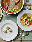 Vegetable soup with dumplings and custard royale