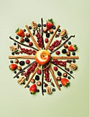 Dessert ingredients arranged in a decorative circle