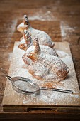 Easter bunny cakes dusted with icing sugar