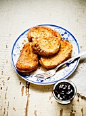 French toast with damson mousse