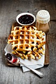 Waffles with lingonberries