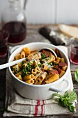 Penne pasta with spicy sausage