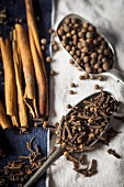 Cloves, pimento, and cinnamon sticks