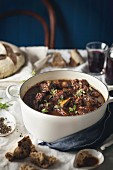 Beef stew with red wine and chocolate