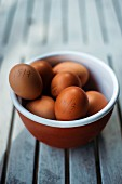A bowl of brown eggs, stamped with dates