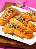 Grilled salmon with a sesame seed and chia seed crust