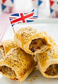 Sausage rolls with a Union Jack