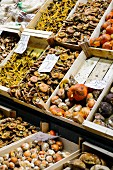 Various mushrooms in crates at La Boqueria market in the Ciutat Vella district of Barcelona, Catalonia, Spain