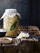 Homemade sauerkraut with bay leaves
