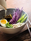 Ramen with red cabbage and egg