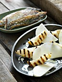 Kohlrabi with grilled pears