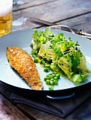 Pointed cabbage with peas, garlic oil and breaded sole