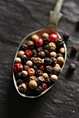 Mixed peppercorns on a spoon