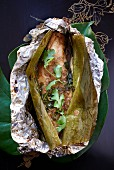 Sea bass in a banana leaf