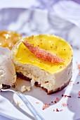 A summer cheesecake, sliced
