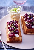 Waffles with sour cherries