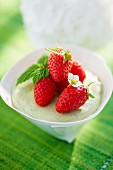 Green tea panna cotta with fresh strawberries