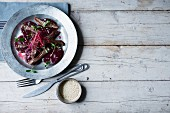Beetroot flavoured with sesame seeds