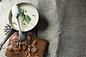 Kohlrabi soup with herbs