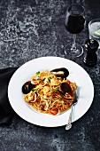 Spaghetti alla pescatora (Spaghetti mit Meeresfrüchten, Italien)