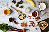Superfood-Lebensmittelstilleben (Aufsicht)