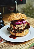 A grilled veal burger