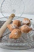 Mutzen (carvinal pastries) with powdered sugar