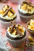 Bonfire cupcakes decorated with grated chocolate