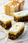 Three slices of Christmas cake