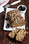 Mediterranean wholemeal bread with olives and sunflower seeds