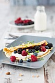 Almond omelette filled with quark and berries (low carb)