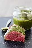 Medium-rare beef fillet with basil pesto