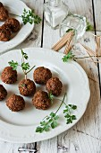 Falafel with toothpicks