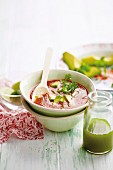 Mexican tomato soup with avocado and coriander oil