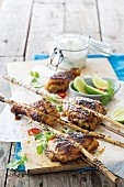 Bamboo canes with coriander & apricot chicken