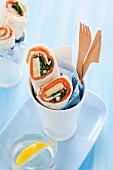 Spinach wraps with smoked salmon and omelette