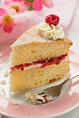 A slice of Victoria Sandwich cake