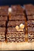 Chocolate wafer biscuits on the chopping board